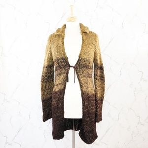 Free People Chunky Knit Wool Open Front Cardigan
